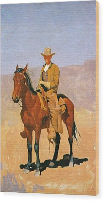 Cowboy Mounted On A Horse Wood Print by Frederic Remington