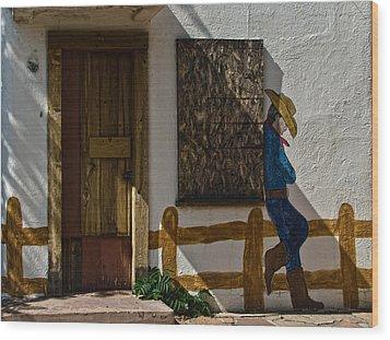 Cowboy Mural In Benson Arizona Usa Wood Print by Dave Dilli