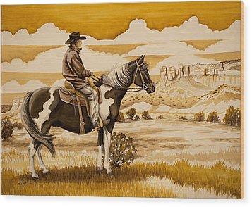 Cowboy On The Range Wood Print by Tish Wynne