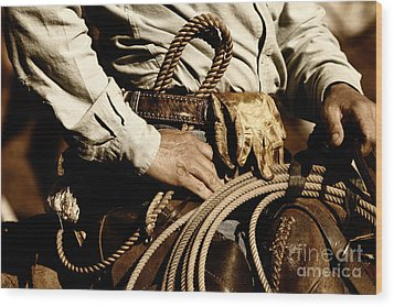 Wood Print featuring the photograph Cowboy Rides In Sunset Light by Lincoln Rogers