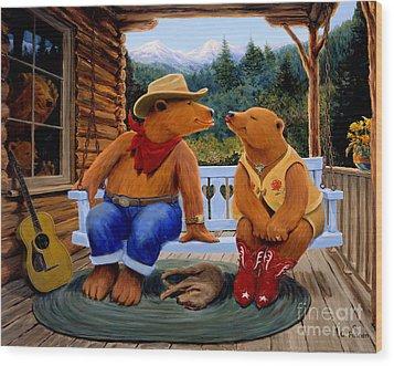 Cowboy Romance Wood Print by Charles Fennen