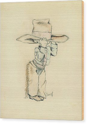 Cowboy Wood Print by Sam Sidders