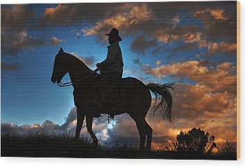 Wood Print featuring the photograph Cowboy Silhouette by Ken Smith