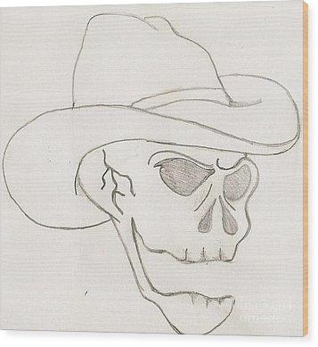 Cowboy Skull Wood Print by Scott Williams