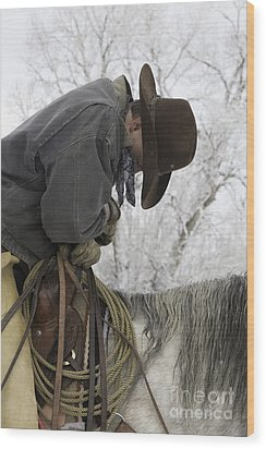 Cowboy Sleeps In The Saddle Wood Print by Carol Walker