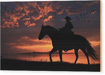 Cowboy Sunset Wood Print