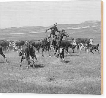 Cowboy Western Cattle Drive Vintage  Wood Print by Retro Images Archive