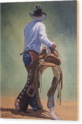 Cowboy With Saddle Wood Print by Randy Follis