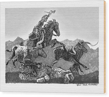 Cowboys And Longhorns Wood Print by Jack Pumphrey