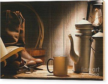 Cowboy's Coffee Break Wood Print by Olivier Le Queinec