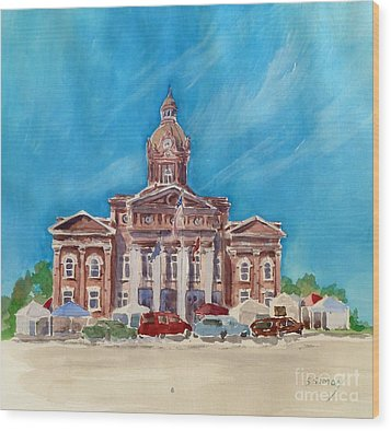 Wood Print featuring the painting Coweta County Courthouse Painting by Sally Simon