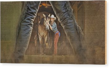 Cowgirl And Cowboy Wood Print by Susan Candelario