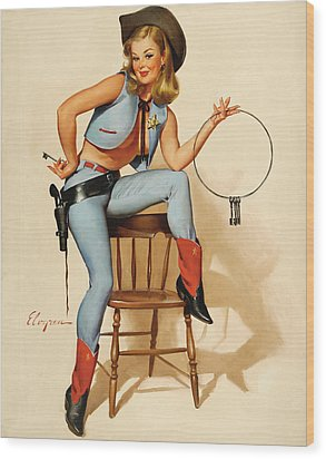 Cowgirl Pin-up Girl Wood Print