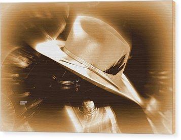 Cowgirls And Harley Wood Print