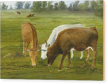 Wood Print featuring the painting Cows Gossip Session In Louisiana Pasture by Lenora  De Lude