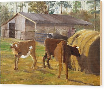 Wood Print featuring the painting Cows Hay And Barn In Louisiana by Lenora  De Lude