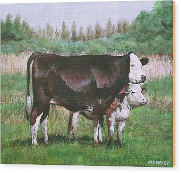 Cows In Field Demo Small Painting Wood Print by Martin Davey