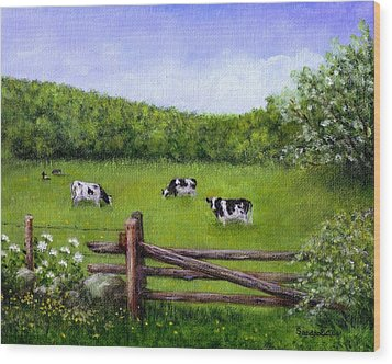 Cows In The Pasture Wood Print by Sandra Estes