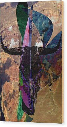 Wood Print featuring the digital art Cowskull Over The Canyon by Cathy Anderson