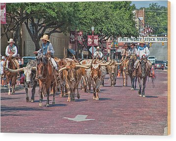 Cowtown Cattle Drive Wood Print by David and Carol Kelly