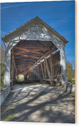 Cox Ford Covered Bridge Wood Print by Alan Toepfer