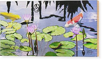 Coy Koi Wood Print by Doug Kreuger