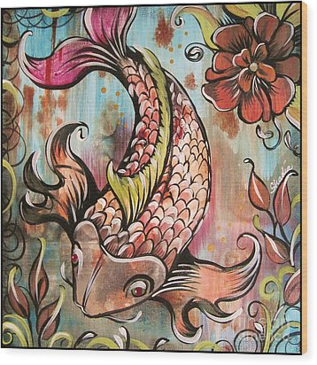 Coy Koi Wood Print by Shadia Derbyshire