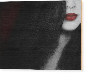 Wood Print featuring the painting Coy by Pat Erickson