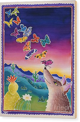 Coyote And The Laughing Butterflies Wood Print by Harriet Peck Taylor