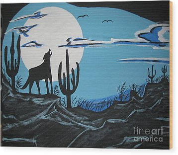 Wood Print featuring the painting Coyote by Jeffrey Koss