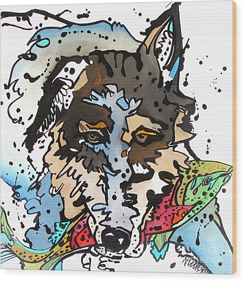 Wood Print featuring the painting Coyote  by Nicole Gaitan