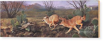 Wood Print featuring the painting Coyote Run by Rob Corsetti