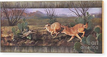 Wood Print featuring the painting Coyote Run With Boarder by Rob Corsetti