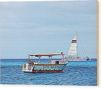 Wood Print featuring the photograph Cozumel Excursion Boats by Debra Martz