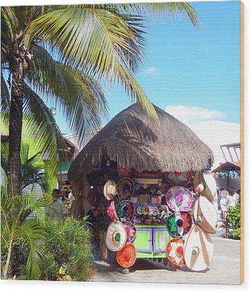 Wood Print featuring the photograph Cozumel Souvernir Shopping by Debra Martz