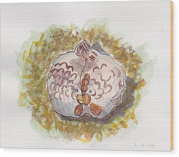 Cozy Chickens Wood Print