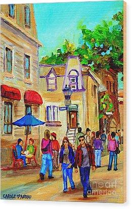 Cozy Dinner Under Blue Umbrella Summer Stroll Prince Arthur Montreal Paintings Carole Spandau Wood Print by Carole Spandau