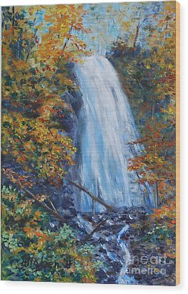 Crab Apple Falls Wood Print by Stanton Allaben