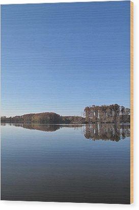 Crab Orchard Lake's Blue Mood Wood Print by Frank Chipasula