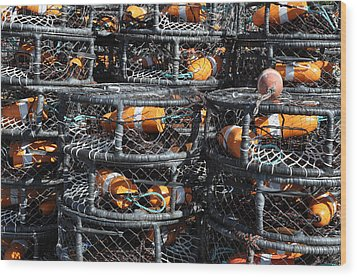 Crab Pots Wood Print by Brandon Bourdages