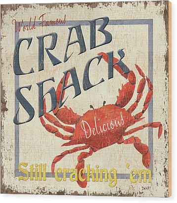 Crab Shack Wood Print by Debbie DeWitt