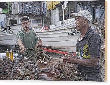 Crabbers At Popotla Wood Print