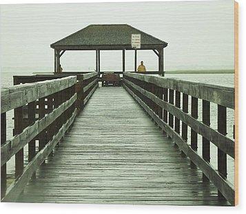 Crabbing Pier Wood Print