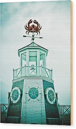 Crabby Weathervane Wood Print by Marilyn Hunt