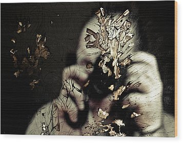 Cracked Portrait 01 Wood Print by Grebo Gray