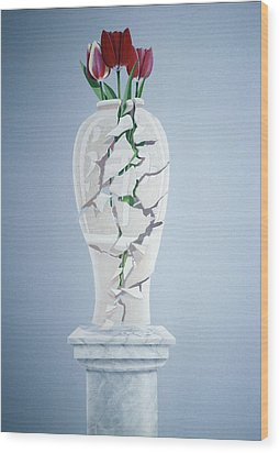 Cracked Urn Wood Print by Lincoln Seligman