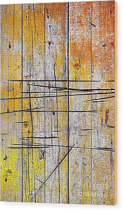 Cracked Wood Background Wood Print by Carlos Caetano