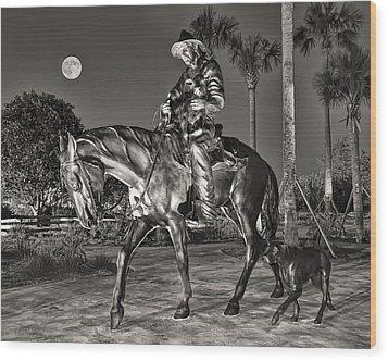 Cracker Cowboy And Full Moon Wood Print by Betty Eich