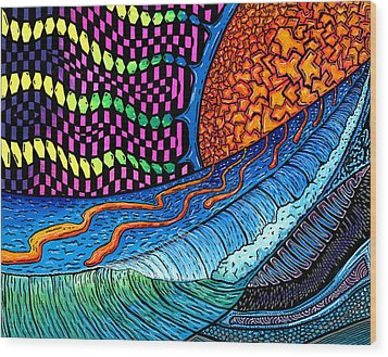 Crackle Sun Wood Print by Sam Bernal