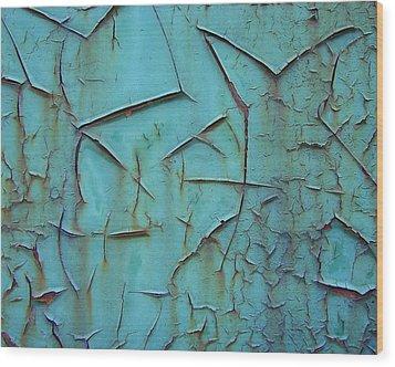 Crackled Rust Wood Print by Ramona Johnston